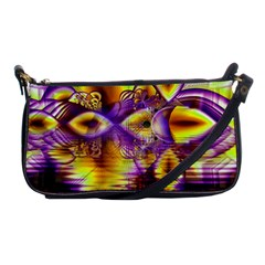 Golden Violet Crystal Palace, Abstract Cosmic Explosion Evening Bag