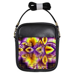Golden Violet Crystal Palace, Abstract Cosmic Explosion Girl s Sling Bag