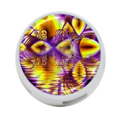 Golden Violet Crystal Palace, Abstract Cosmic Explosion 4-Port USB Hub (Two Sides)