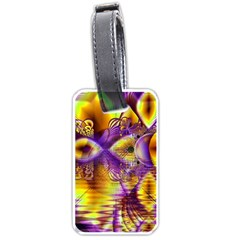 Golden Violet Crystal Palace, Abstract Cosmic Explosion Luggage Tag (One Side)
