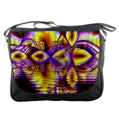 Golden Violet Crystal Palace, Abstract Cosmic Explosion Messenger Bag
