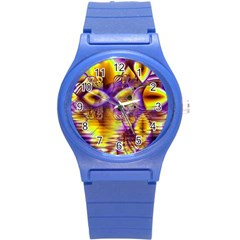 Golden Violet Crystal Palace, Abstract Cosmic Explosion Plastic Sport Watch (Small)