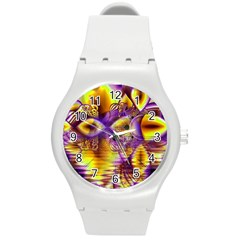 Golden Violet Crystal Palace, Abstract Cosmic Explosion Plastic Sport Watch (Medium)
