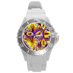 Golden Violet Crystal Palace, Abstract Cosmic Explosion Plastic Sport Watch (Large)