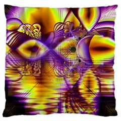 Golden Violet Crystal Palace, Abstract Cosmic Explosion Large Cushion Case (single Sided)