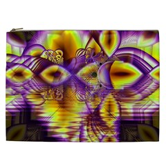 Golden Violet Crystal Palace, Abstract Cosmic Explosion Cosmetic Bag (XXL)