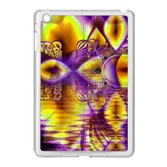 Golden Violet Crystal Palace, Abstract Cosmic Explosion Apple iPad Mini Case (White)