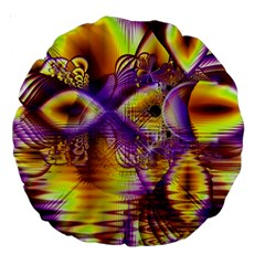Golden Violet Crystal Palace, Abstract Cosmic Explosion 18  Premium Round Cushion