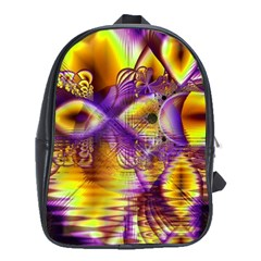 Golden Violet Crystal Palace, Abstract Cosmic Explosion School Bag (XL)