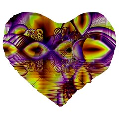 Golden Violet Crystal Palace, Abstract Cosmic Explosion 19  Premium Heart Shape Cushion