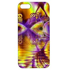 Golden Violet Crystal Palace, Abstract Cosmic Explosion Apple iPhone 5 Hardshell Case with Stand