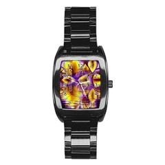 Golden Violet Crystal Palace, Abstract Cosmic Explosion Stainless Steel Barrel Watch