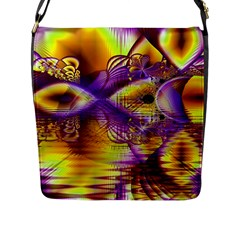 Golden Violet Crystal Palace, Abstract Cosmic Explosion Flap Closure Messenger Bag (large)