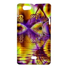 Golden Violet Crystal Palace, Abstract Cosmic Explosion Sony Xperia Miro Hardshell Case