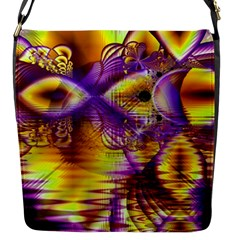 Golden Violet Crystal Palace, Abstract Cosmic Explosion Flap Closure Messenger Bag (small)