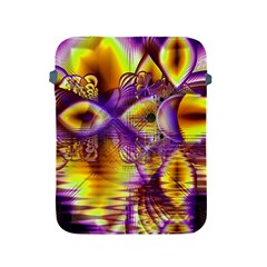 Golden Violet Crystal Palace, Abstract Cosmic Explosion Apple iPad Protective Sleeve