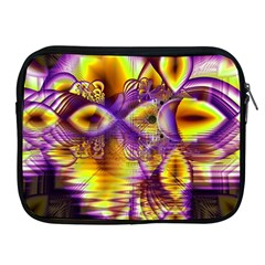 Golden Violet Crystal Palace, Abstract Cosmic Explosion Apple iPad Zippered Sleeve