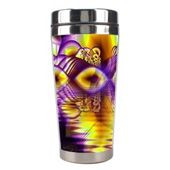 Golden Violet Crystal Palace, Abstract Cosmic Explosion Stainless Steel Travel Tumbler