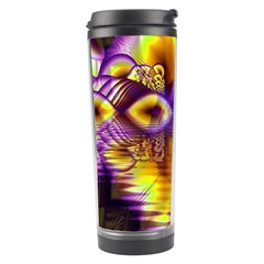 Golden Violet Crystal Palace, Abstract Cosmic Explosion Travel Tumbler
