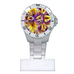 Golden Violet Crystal Palace, Abstract Cosmic Explosion Nurses Watch