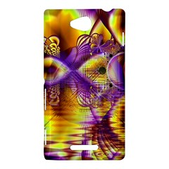 Golden Violet Crystal Palace, Abstract Cosmic Explosion Sony Xperia C (S39H) Hardshell Case