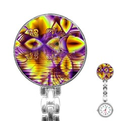 Golden Violet Crystal Palace, Abstract Cosmic Explosion Stainless Steel Nurses Watch