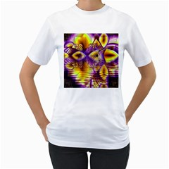 Golden Violet Crystal Palace, Abstract Cosmic Explosion Women s T-Shirt (White)