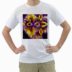 Golden Violet Crystal Palace, Abstract Cosmic Explosion Men s T-Shirt (White)