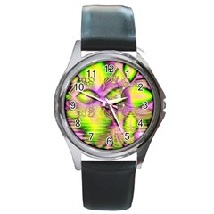 Raspberry Lime Mystical Magical Lake, Abstract  Round Leather Watch (Silver Rim)
