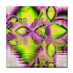 Raspberry Lime Mystical Magical Lake, Abstract  Ceramic Tile