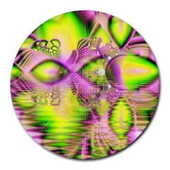 Raspberry Lime Mystical Magical Lake, Abstract  8  Mouse Pad (Round)
