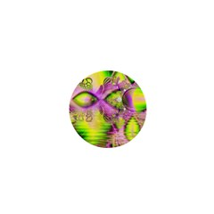 Raspberry Lime Mystical Magical Lake, Abstract  1  Mini Button Magnet