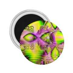 Raspberry Lime Mystical Magical Lake, Abstract  2.25  Button Magnet