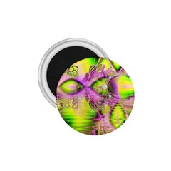 Raspberry Lime Mystical Magical Lake, Abstract  1.75  Button Magnet