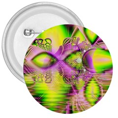Raspberry Lime Mystical Magical Lake, Abstract  3  Button