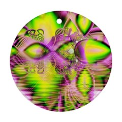 Raspberry Lime Mystical Magical Lake, Abstract  Round Ornament