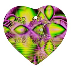 Raspberry Lime Mystical Magical Lake, Abstract  Heart Ornament