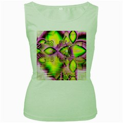 Raspberry Lime Mystical Magical Lake, Abstract  Women s Tank Top (Green)