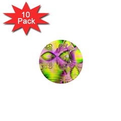 Raspberry Lime Mystical Magical Lake, Abstract  1  Mini Button Magnet (10 Pack)