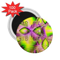 Raspberry Lime Mystical Magical Lake, Abstract  2.25  Button Magnet (100 pack)