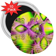 Raspberry Lime Mystical Magical Lake, Abstract  3  Button Magnet (10 pack)