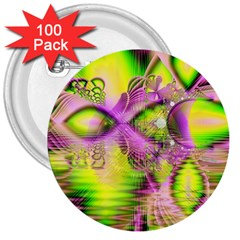 Raspberry Lime Mystical Magical Lake, Abstract  3  Button (100 pack)