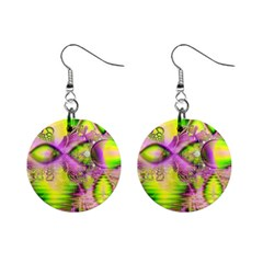 Raspberry Lime Mystical Magical Lake, Abstract  Mini Button Earrings