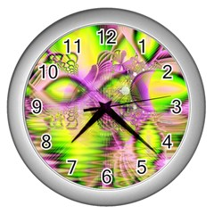 Raspberry Lime Mystical Magical Lake, Abstract  Wall Clock (Silver)