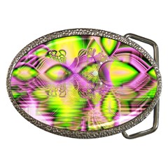 Raspberry Lime Mystical Magical Lake, Abstract  Belt Buckle (oval)