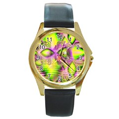 Raspberry Lime Mystical Magical Lake, Abstract  Round Leather Watch (Gold Rim)