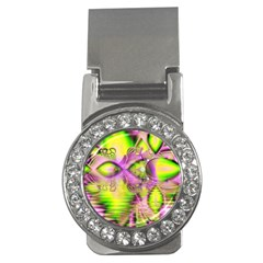 Raspberry Lime Mystical Magical Lake, Abstract  Money Clip (CZ)