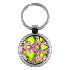 Raspberry Lime Mystical Magical Lake, Abstract  Key Chain (Round)