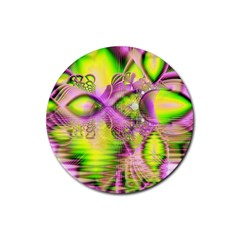 Raspberry Lime Mystical Magical Lake, Abstract  Drink Coasters 4 Pack (Round)