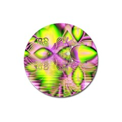 Raspberry Lime Mystical Magical Lake, Abstract  Magnet 3  (Round)